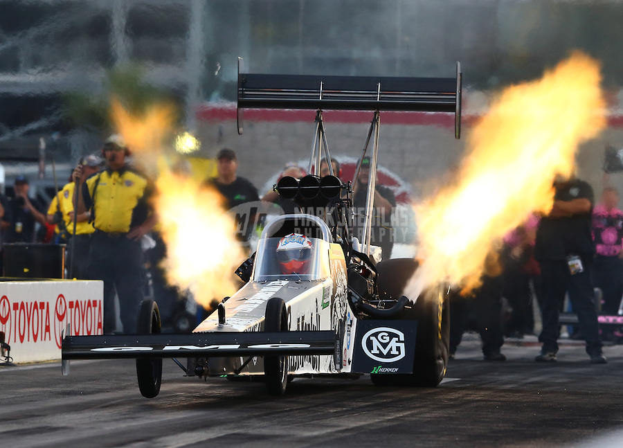 Oct 31, 2014; Las Vegas, NV, USA; NHRA top fuel driver Kebin Kinsley during qualifying for the Toyota Nationals at The Strip at Las Vegas Motor Speedway. Mandatory Credit: Mark J. Rebilas-USA TODAY Sports