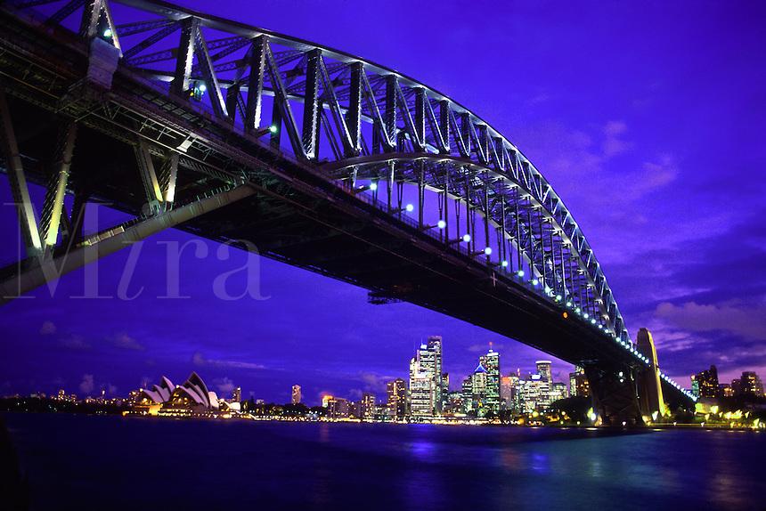 Beautiful Skyline and the Harbour Bridge in Sydney, Australia..