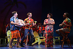 Eric Peterson, Paul Alexander Nolan, Rema Webb and Andre Ward during the Press Sneak Peak for the Jimmy Buffett  Broadway Musical 'Escape to Margaritaville' on February 15, 2018 at the Marquis Theatre in New York City.