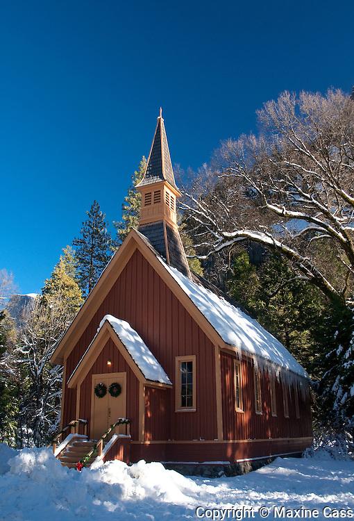 Yosemite Chapel winter snow scenic, Yosemite Valley, Yosemite National Park, California, United States of America