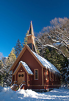 Yosemite Chapel winter snow scenic, Yosemite Valley, Yosemite National Park, California, United States of America