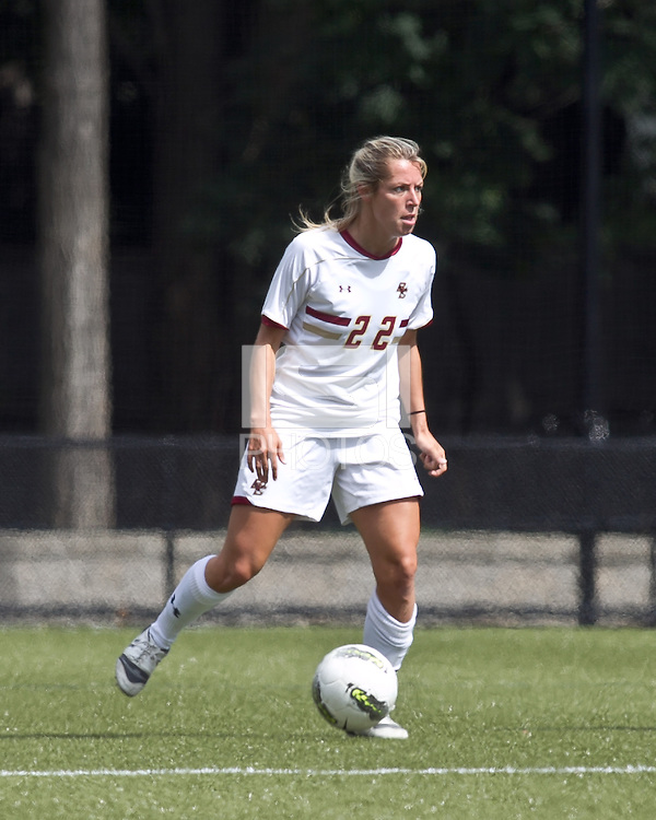 Boston College forward Stephanie Wirth (22) passes the ball. Boston College defeated University of Virginia, 2-0, at the Newton Soccer Field, on September 18, 2011.