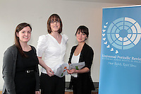 NO FEE PICTURES .15/3/12 SSinead Skelly, ICCL, Emma Cassidy, Flack and Ashleigh Shaheen, IPRT at the Your Rights Right Now campaign live streaming of Ireland's Universal Periodic Review live from Geneva, at Liberty Hall, Dublin. Picture:Arthur Carron/Collins