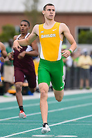 George Caddick of Baylor wins section three of 400 Meter dash final during Baylor Invitational track meet, Friday, April 03, 2015 in Waco, Tex. (Mo Khursheed/TFV Media via AP Images)
