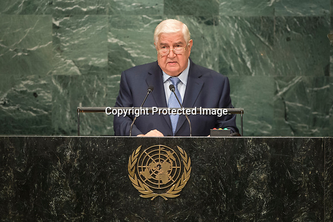 Syrian Arab Republic<br /> H.E. Mr. Walid Al-Moualem<br /> Deputy Prime Minister<br /> <br /> <br /> General Assembly Seventy-first session 20th plenary meeting<br /> <br /> General Debate