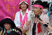Women Protest outside METI (Ministry of Economy, Trade and Industry) in Tokyo, Japan. Friday June 29th 2012. About 400 protesters campaigned the restarting of the Oi nuclear power-station and the policy of Prime-Minister Noda to restart Japan's nuclear power generation programme which has been stalled since the earthquake and tsunami of March 11th 2011 caused meltdown and radiation leaks at the Fukushima Daichi Nuclear power-plant.