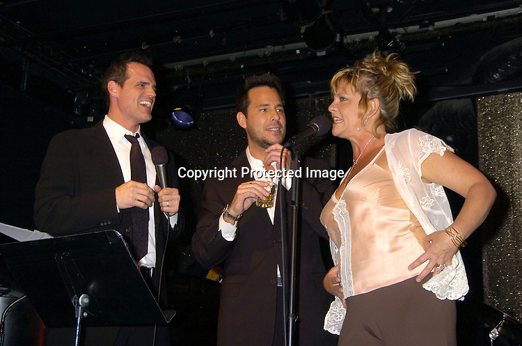 Ricky Paull Goldin, Kim Zimmer and Michael Park ..at The Goldin and Park Cabaret starring Ricky Paull Goldin from Guiding Light and Michael Park from As The World Turns. Kim Zimmer, Robert Newman and Mandy Bruno also sang. This was at The Triad NYC on April 16, 2005, and  was a benefit for Bill Runyon's family. ..Photo by Robin Platzer, Twin Images