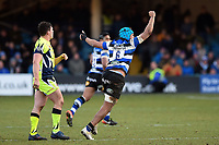 Zach Mercer of Bath Rugby celebrates at the final whistle. Aviva Premiership match, between Bath Rugby and Sale Sharks on February 24, 2018 at the Recreation Ground in Bath, England. Photo by: Patrick Khachfe / Onside Images