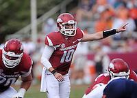 NWA Democrat-Gazette/BEN GOFF @NWABENGOFF<br /> Brandon Allen, Arkansas quarterback, calls a play on Saturday Sept. 5, 2015 during the first quarter of the game in Razorback Stadium in Fayetteville.