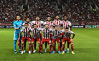 Olympiakos team during the UEFA Champions League playoff first leg soccer match between Olympiakos and Krasnodar at Karaiskaki stadium in Piraeus, Greece, on 21 August 2019