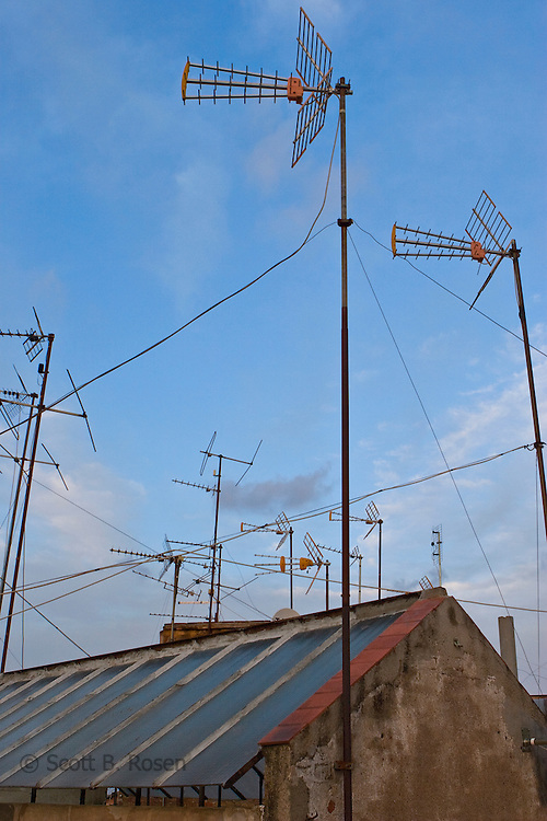 Antennas on a roof in Poble Sec, Barcelona, Spain