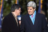 "United States Secretary of the Treasury Jacob ""Jack"" Lew and U.S. Secretary of State John Kerry share some thoughts during an arrival ceremony for President Francois Hollande of France on the South Lawn of the White House in Washington, D.C., U.S., on Tuesday, Feb. 11, 2014. <br /> Credit: Andrew Harrer / Pool via CNP"