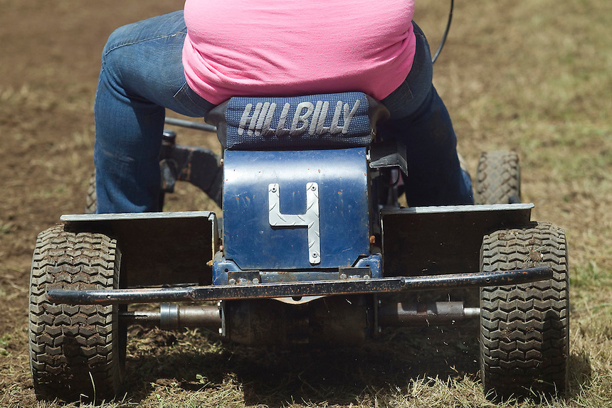 """A detail on a lawn mower raced by Skylar Riggs  at the annual """"Territorial Days"""" festival in Amboy Sunday July 10, 2016. Other events during the celebration included a logging show, musical performances, an art show and a carnival. The celebration highlights the area's connection to logging and pioneering. (Photo by Natalie Behring/ for the The Columbian)"""