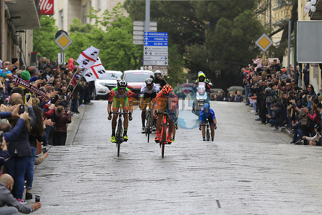 The breakaway group, Lukasz Owsian (POL) CCC Sprandi Polkowice, Simone Andreetta (ITA) Bardiani CSF, Evgeny Shalunov (RUS) Gazprom-Rusvelo, Daniel Teklehaimanot (ERI) Dimension Data and Ilia Koshevoy (BLR) Wilier Triestina-Selle Italia pass through Nuoro during Stage 2 of the 100th edition of the Giro d'Italia 2017, running 221km from Olbia to Tortoli, Sardinia, Italy. 6th May 2017.<br /> Picture: Eoin Clarke | Cyclefile<br /> <br /> <br /> All photos usage must carry mandatory copyright credit (&copy; Cyclefile | Eoin Clarke)