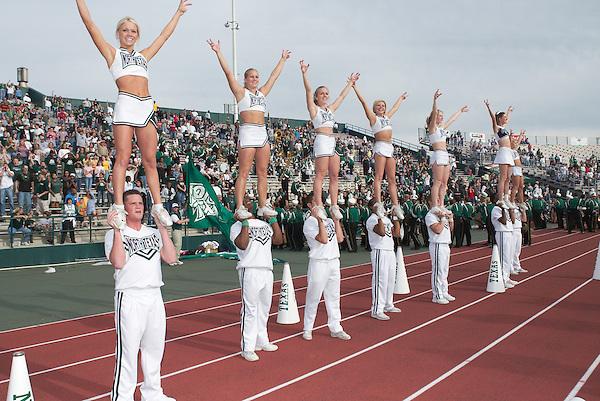 DENTON, TX  NOVEMBER 15:  cheer, cheerleader -  University of North Texas Mean Green Football vs Arkansas State University Red Wolves at Fouts Field in Denton  on November 15, 2003 in Denton, TX. NT won 51-7.  Photo by Rick Yeatts