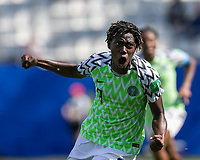 GRENOBLE, FRANCE - JUNE 12: Asisat Oshoala #8 of the Nigerian National Team celebrates her goal during a game between Korea Republic and Nigeria at Stade des Alpes on June 12, 2019 in Grenoble, France.