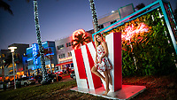MIAMI, FL - JANUARY 28: A woman poses for a picture as people visit the FOX Sports South Beach studio compound on January 28, 2020 in Miami, USA. The Super Bowl XLIV will take place in the Hard Rock Stadium in Miami between the teams 49ers vs. Chiefs, and it will be played on Sunday, Feb. 2, 2020.(Photo by Eduardo MunozAlvarez/VIEWpress)