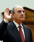 "Washington, D.C. - January 15, 2008 -- Former United States Senator George Mitchell (Democrat of Maine) is sworn-in to testify before the United States House Committee on Oversight and Government Reform hearing on ""The Mitchell Report: The Illegal Use of Steroids in Major League Baseball."" on Tuesday, January 15, 2008..Credit: Ron Sachs / CNP.[RESTRICTION: No New York Metro or other Newspapers within a 75 mile radius of New York City]"