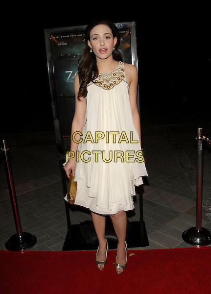 "EMMY ROSSUM.The Paramount Pictures L.A Premiere of ""Zodiac"" held at Paramount Studios in Hollywood, California, USA..March 1st, 2007.full length white dress silver clutch purse shoes gold sleeveless beaded.CAP/DVS.©Debbie VanStory/Capital Pictures"