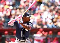 May 10, 2015; Phoenix, AZ, USA; San Diego Padres outfielder Justin Upton in the second inning against the Arizona Diamondbacks at Chase Field. Mandatory Credit: Mark J. Rebilas-USA TODAY Sports