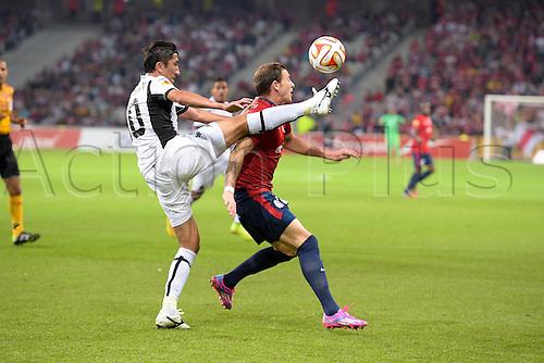 18.09.2014. Lille, France. Europa League football group stages. Lille versus Krasnodar.  Nolan ROUX (lille) challenges Odil Ahmedov (Krasnodar)