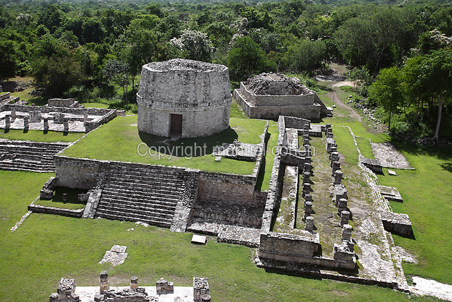 Round temple called the Observatory, Mayapan, old Maya capital, c. 1250, destroyed during civil war in 1441, Yucatan, Mexico Picture by Manuel Cohen