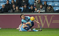 Sam Saunders of Wycombe Wanderers during the The Checkatrade Trophy - EFL Trophy Semi Final match between Coventry City and Wycombe Wanderers at the Ricoh Arena, Coventry, England on 7 February 2017. Photo by Andy Rowland.