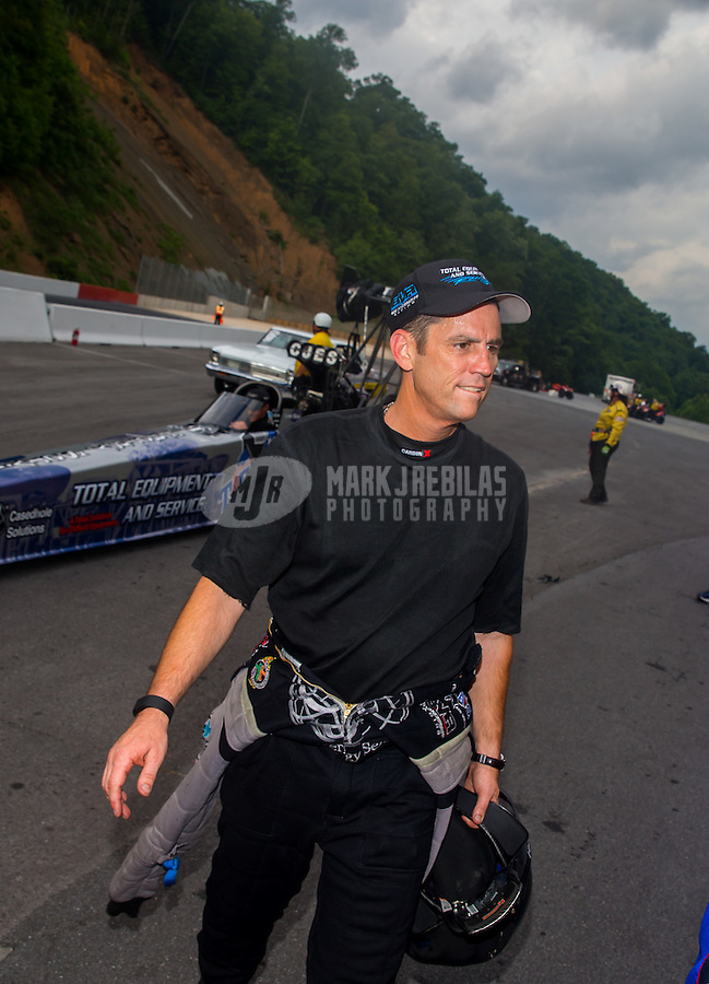 Jun 21, 2015; Bristol, TN, USA; NHRA top fuel driver Larry Dixon during the Thunder Valley Nationals at Bristol Dragway. Mandatory Credit: Mark J. Rebilas-