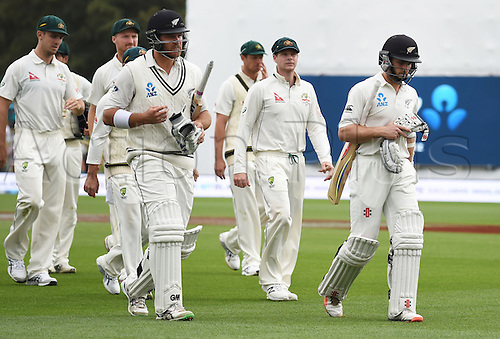 23.02.2016. Christchurch, New Zealand.  Corey Anderson and Kane Williamson head to lunch on Day 4 of the 2nd test match. New Zealand Black Caps versus Australia. Hagley Oval in Christchurch, New Zealand. Tuesday 23 February 2016.