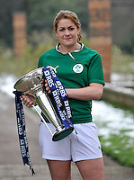 London, England. Ireland captain Fiona Coghlan poses with the Women's Six Nations trophy during the RBS Six Nations launch at The Hurlingham Club on January 23, 2013 in London, England.