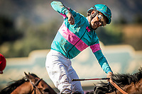 ARCADIA, CA -APRIL 08: Victor Espinoza celebrates a win in the Santa Anita Derby aboard Gormley #8 at Santa Anita Park on April 08, 2017 in Arcadia, California. (Photo by Alex Evers/Eclipse Sportswire/Getty Images)
