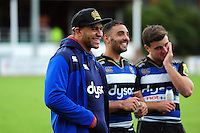 Jonathan Joseph of Bath Rugby is all smiles after the match. Pre-season friendly match, between the Scarlets and Bath Rugby on August 20, 2016 at Eirias Park in Colwyn Bay, Wales. Photo by: Patrick Khachfe / Onside Images