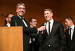 St Johnstone FC Scottish Cup Celebration Dinner at Perth Concert Hall...01.02.15<br /> Gordon Bannerman talks with captain David Wotherspoon<br /> Picture by Graeme Hart.<br /> Copyright Perthshire Picture Agency<br /> Tel: 01738 623350  Mobile: 07990 594431