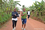 .The Kigali Hash runners and walkers on their Saturday jaunt through a village and hilly farm fields outside Kigali..