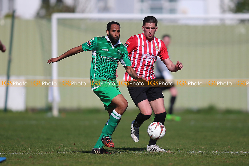 Michael Spencer of Waltham Abbey and Jed Chouman of Hornchurch during Waltham Abbey vs AFC Hornchurch, Ryman League Division 1 North Football at Capershotts on 8th April 2017