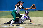 21 MAY 2016:  Danielle Cruickshank (3) of the University of North Alabama slides safely into third against Humboldt State University during the Division II Women's Softball Championship held at the Regency Athletic Complex on the Metro State University campus in Denver, CO.  North Alabama defeated Humboldt State 4-1 to win the national title.  Jamie Schwaberow/NCAA Photos