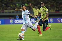 PEREIRA, COLOMBIA - JANUARY 18:  Argentina's Agustin Urzi kicks to the goal  against Colombia during their CONMEBOL Pre-Olympic soccer game at the Hernan Ramirez Villegas Stadium on January 18, 2020 in Pereira, Colombia. (Photo by Daniel Munoz/VIEW press/Getty Images)