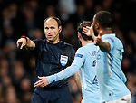 Manchester City's Bernardo Silva argues with referee Antonio Mateu Lahoz at half time during the Champions League Quarter Final 2nd Leg match at the Etihad Stadium, Manchester. Picture date: 10th April 2018. Picture credit should read: David Klein/Sportimage