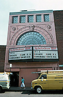 Cambridge:  Harvard Square Theatre (originally University Theater) opened in 1926 -- 1,700 seats, a huge 40 foot screen, box seats in balcony, a loge section with wicker rocking chairs and velvet cushions.  Photo '88.