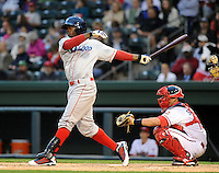 Center fielder Kyrell Hudson (13) of the Lakewood BlueClaws in a game against the Greenville Drive on the Drive's Opening Day, April 5, 2012, at Fluor Field at the West End in Greenville, South Carolina. (Tom Priddy/Four Seam Images)