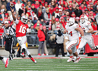 Ohio State Buckeyes quarterback J.T. Barrett (16) throws an incomplete pass to Ohio State Buckeyes tight end Jeff Heuerman (5) on a third down in the second quarter of the college football game between the Ohio State Buckeyes and the Indiana Hoosiers at Ohio Stadium in Columbus, Saturday afternoon, November 22, 2014. The Ohio State Buckeyes defeated the Indiana Hoosiers 42 - 27. (The Columbus Dispatch / Eamon Queeney)