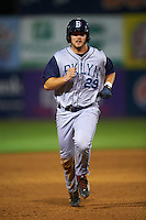 Brooklyn Cyclones third baseman David Thompson (29) runs the bases during the first game of a doubleheader against the Connecticut Tigers on September 2, 2015 at Senator Thomas J. Dodd Memorial Stadium in Norwich, Connecticut.  Brooklyn defeated Connecticut 7-1.  (Mike Janes/Four Seam Images)