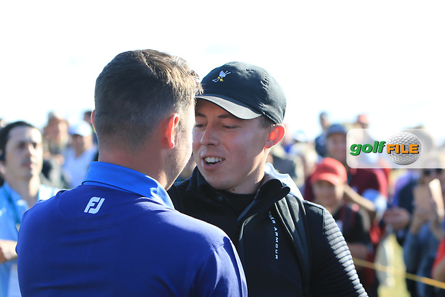 Alex Fitzpatrick (GB&I) and Matthew Fitzpatrick on the 18th during Day 1 Singles of the Walker Cup at Royal Liverpool Golf CLub, Hoylake, Cheshire, England. 07/09/2019.<br /> Picture: Thos Caffrey / Golffile.ie<br /> <br /> All photo usage must carry mandatory copyright credit (© Golffile | Thos Caffrey)