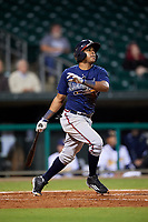 Mississippi Braves third baseman Luis Valenzuela (1) follows through on a swing during a game against the Montgomery Biscuits on April 24, 2017 at Montgomery Riverwalk Stadium in Montgomery, Alabama.  Montgomery defeated Mississippi 3-2.  (Mike Janes/Four Seam Images)