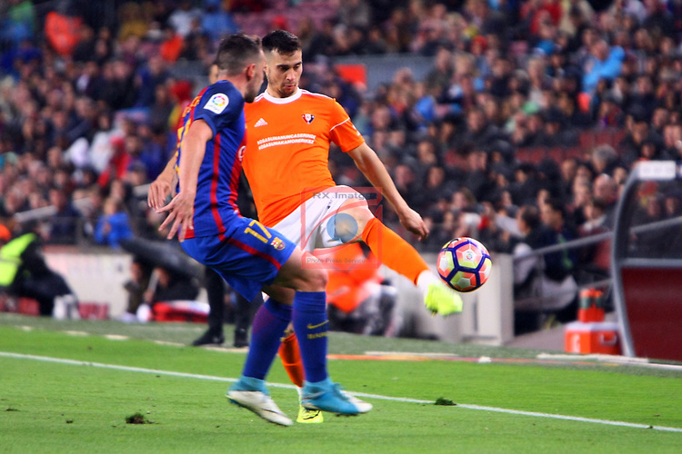 League Santander 2016/2017. Game: 34.<br /> FC Barcelona vs CA Osasuna: 7-1.<br /> Paco Alcacer vs Jaime.