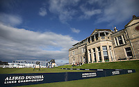 The R&A Golf Club of St Andrews building as backdrop to the first tee during the practice days before the 2014 Alfred Dunhill Links Championship, The Old Course, St Andrews, Fife, Scotland. Picture:  David Lloyd / www.golffile.ie