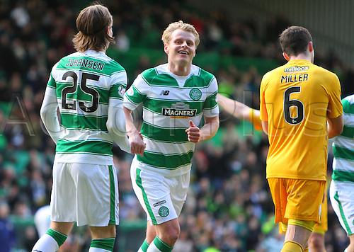 06.03.2016. Celtic Park, Glasgow, Scotland. Scottish Cup. Celtic versus Morton. Gary Mackay-Steven celebrates his goal
