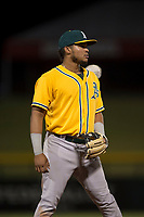 AZL Athletics third baseman Jordan Diaz (10) during an Arizona League game against the AZL Cubs 1 at Sloan Park on June 28, 2018 in Mesa, Arizona. The AZL Athletics defeated the AZL Cubs 1 5-4. (Zachary Lucy/Four Seam Images)