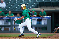 Cole Daily (6) of the Notre Dame Fighting Irish follows through on his swing against the Florida State Seminoles in Game Four of the 2017 ACC Baseball Championship at Louisville Slugger Field on May 24, 2017 in Louisville, Kentucky. The Seminoles walked-off the Fighting Irish 5-3 in 12 innings. (Brian Westerholt/Four Seam Images)