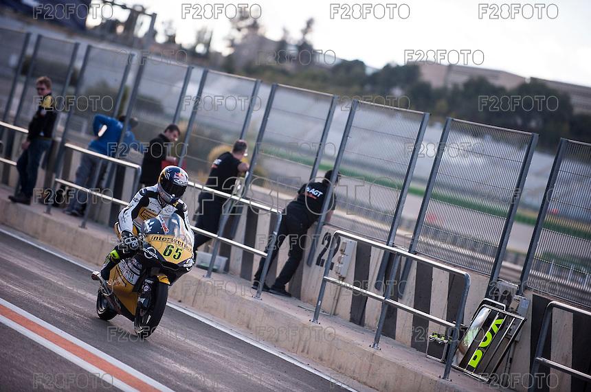 Philipp Oettl in pit line at pre season winter test IRTA Moto3 & Moto2 at Ricardo Tormo circuit in Valencia (Spain), 11-12-13 February 2014